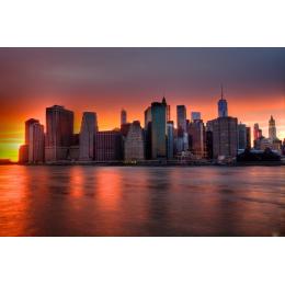 New York city Skyline al tramonto