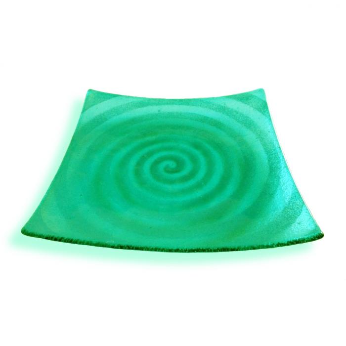 Spirale - Piatto quadrato acquamarina