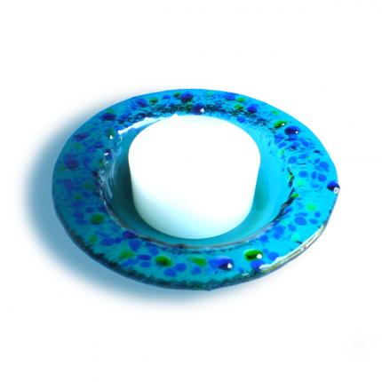 Portacandele - Portacandela azzurro - serie lapilli