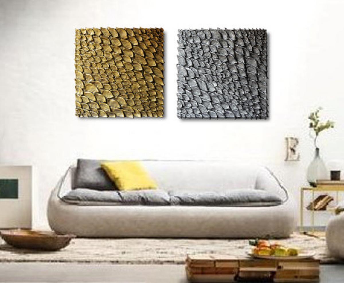 Quadri materici | Coppia oro e argento | LivingDECO\'