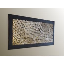 Scultura da parete avorio, ebano e ocra