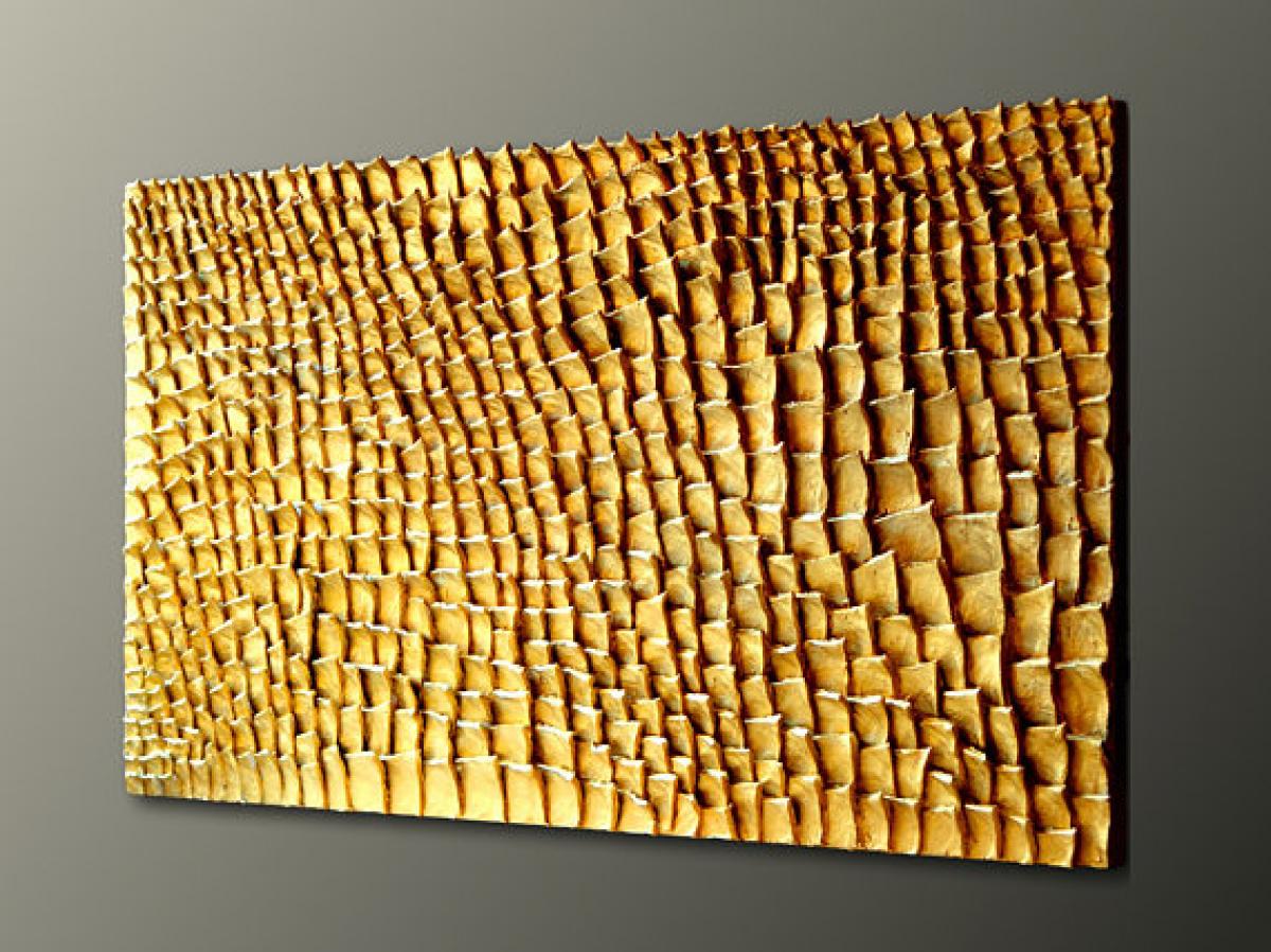 Quadri Materici Quadro In Rilievo Foglia Oro Livingdeco