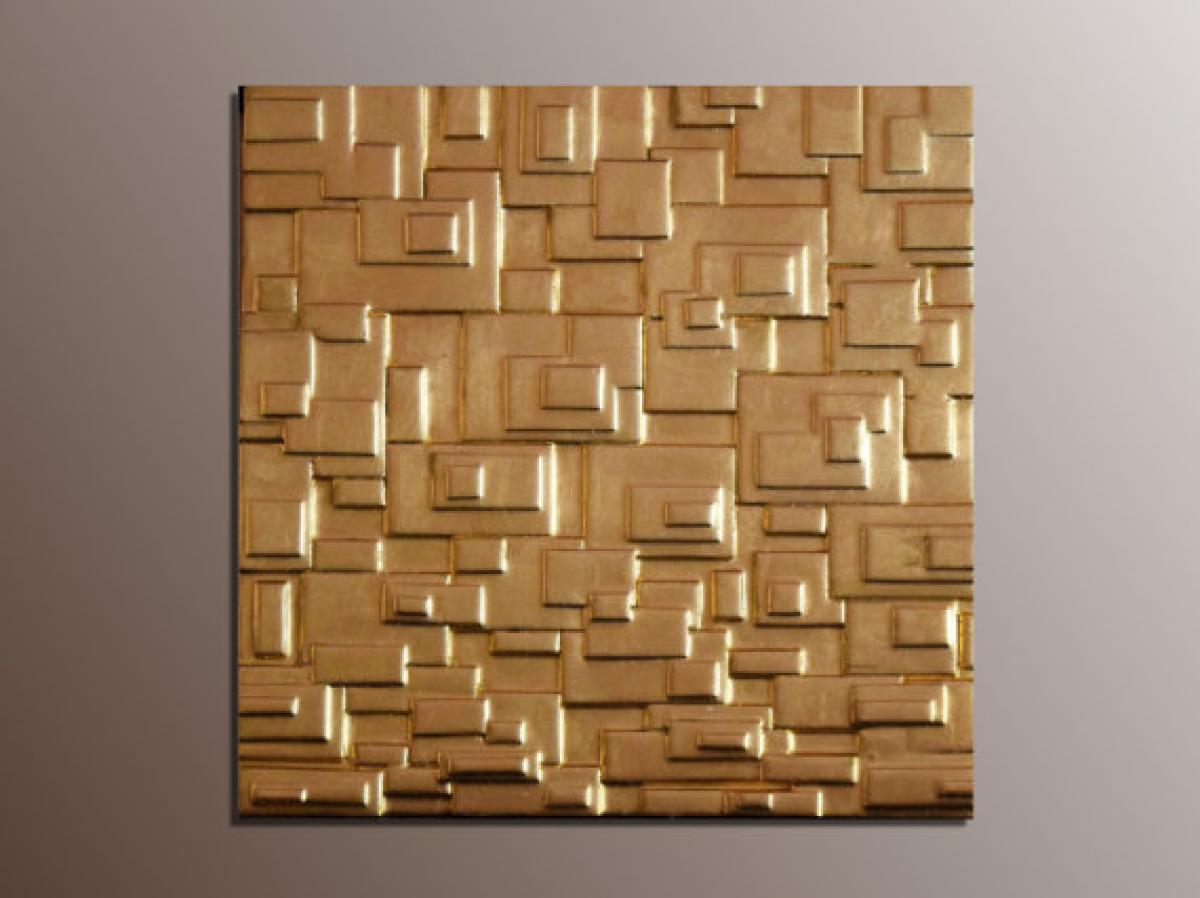 Quadri materici pannello quadrato oro livingdeco 39 - Decorazioni da parete in metallo ...