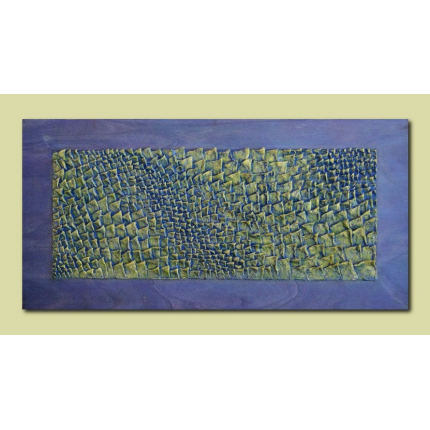 Scultura da parete verde, giallo, blu
