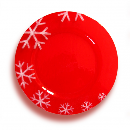 Piatto Natalizio rosso - fiocchi di neve