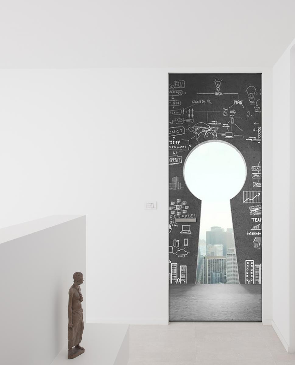 Adesivo per porte camera con vista livingdeco 39 for Specchi adesivi per porte