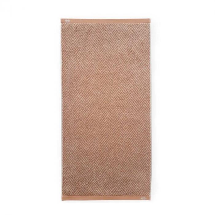 Homely - Asciugamano terracotta con motivo a lisca di pesce