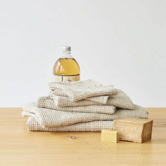 Waffle - set asciugamani in lino beige