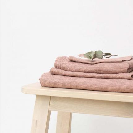 Small Waffle - set asciugamani in lino rosa