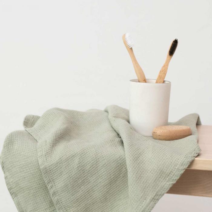 Small Waffle - set asciugamani in lino verde salvia