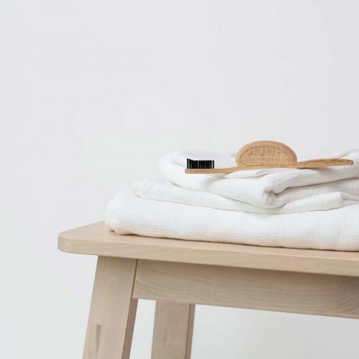 Small Waffle - set asciugamani in lino bianco