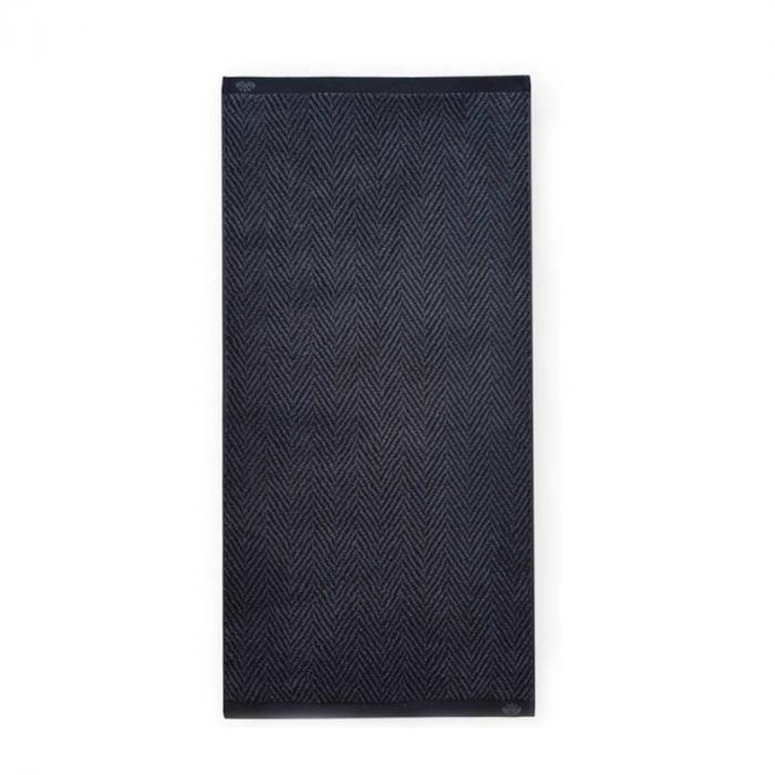 Homely - Asciugamano nero e grigio con motivo a lisca di pesce