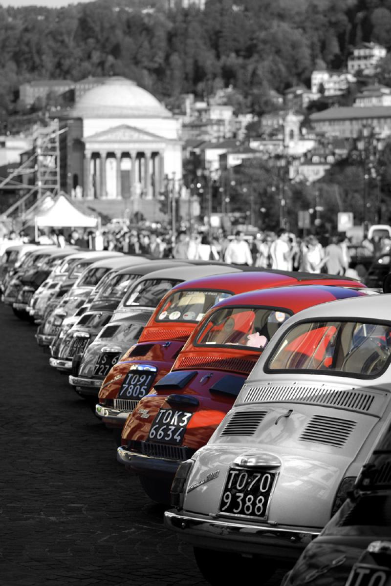 Quadro Su Tela Fiat 500 Rosse Livingdeco