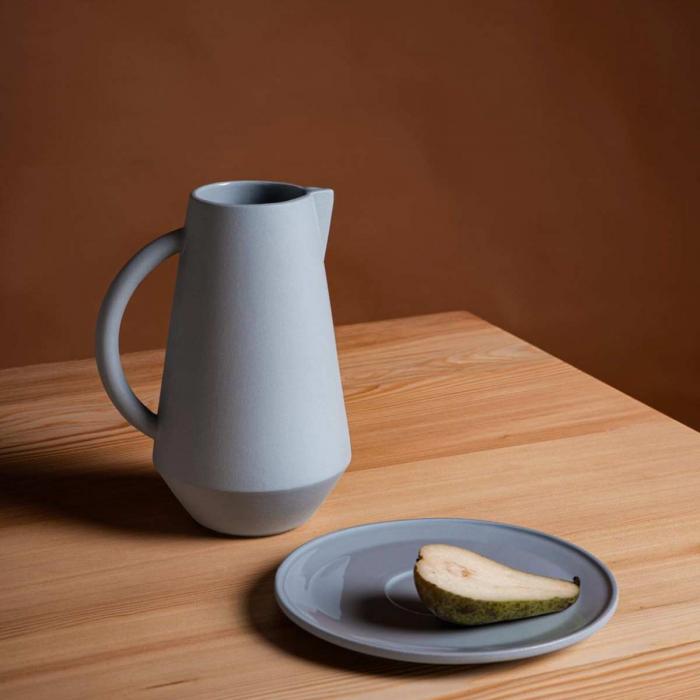Caraffa in ceramica grigio blu
