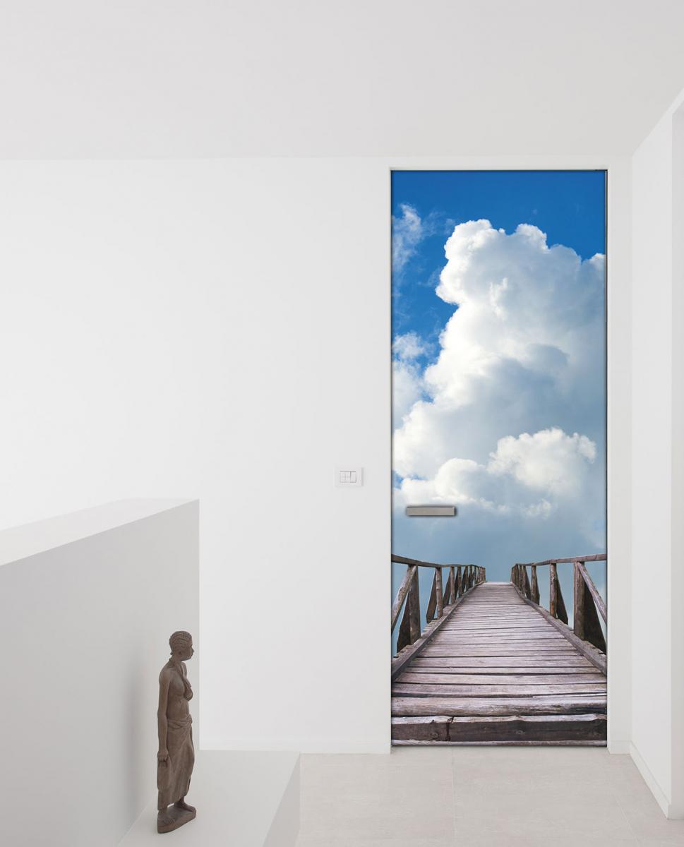 Adesivo per porte un ponte tra le nuvole livingdeco 39 for Carta adesiva per porte