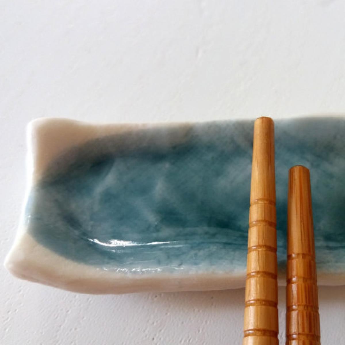 Ciotola poggia bacchette da sushi azzurra livingdeco 39 - Poggia posate da tavola ...