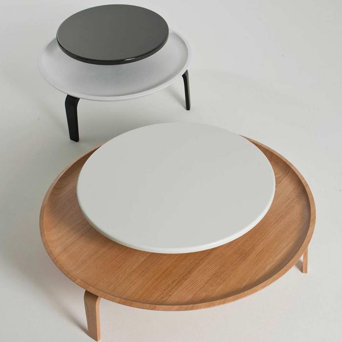 Secreto - coffee table in rovere naturale e laccato bianco