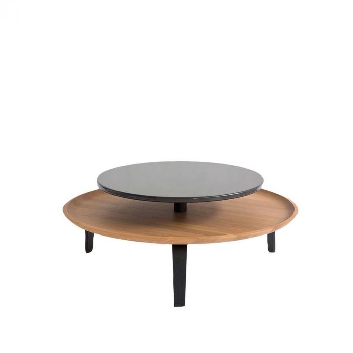 Secreto - coffee table in rovere naturale e laccato nero
