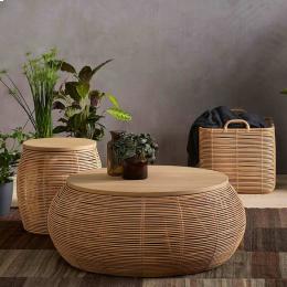 Vivi large - coffee table in rattan e rovere