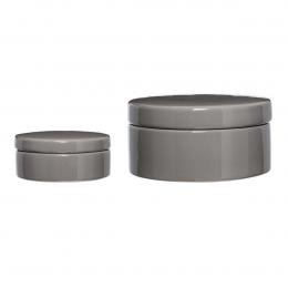 Coppia di barattoli con coperchio in ceramica