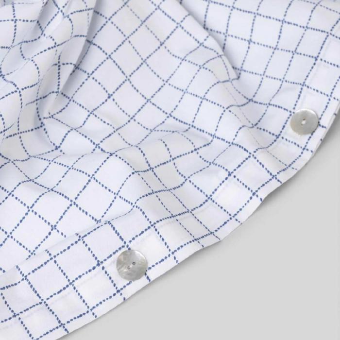 Copripiumino in percalle di cotone bianco a quadretti blu