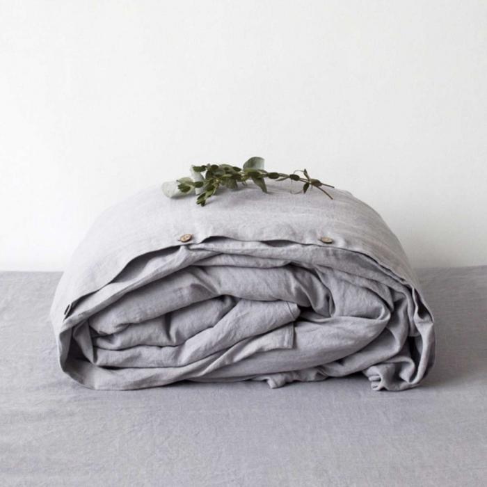 Light grey - copripiumino in lino grigio chiaro