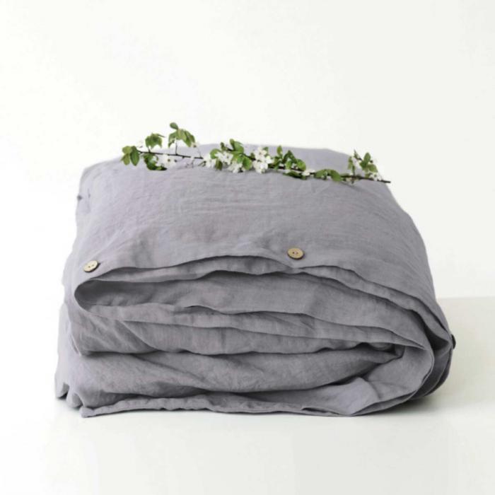 Ash - copripiumino in lino grigio cenere