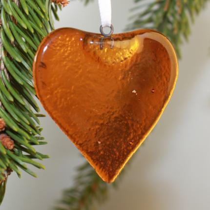Cuore ambra - decorazione in vetro di Murano