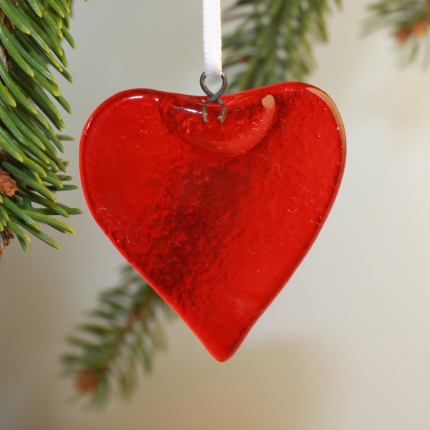 Decorazioni Natalizie - Decorazione vetro Murano - cuore rosso