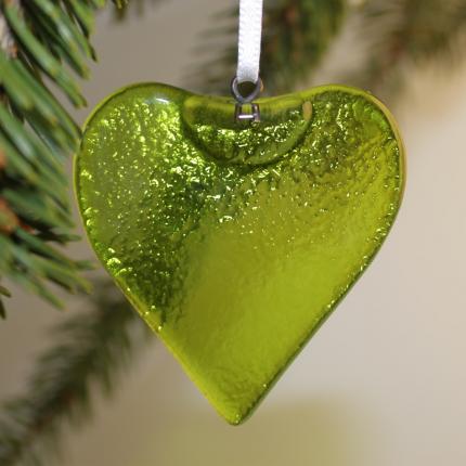Cuore in vetro di Murano - verde chiaro