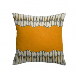 Zeff Mona - Cuscino giallo ocra in lino con stampa fantasia