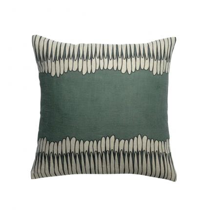 Zeff Mona - Cuscino verde timo in lino con stampa fantasia