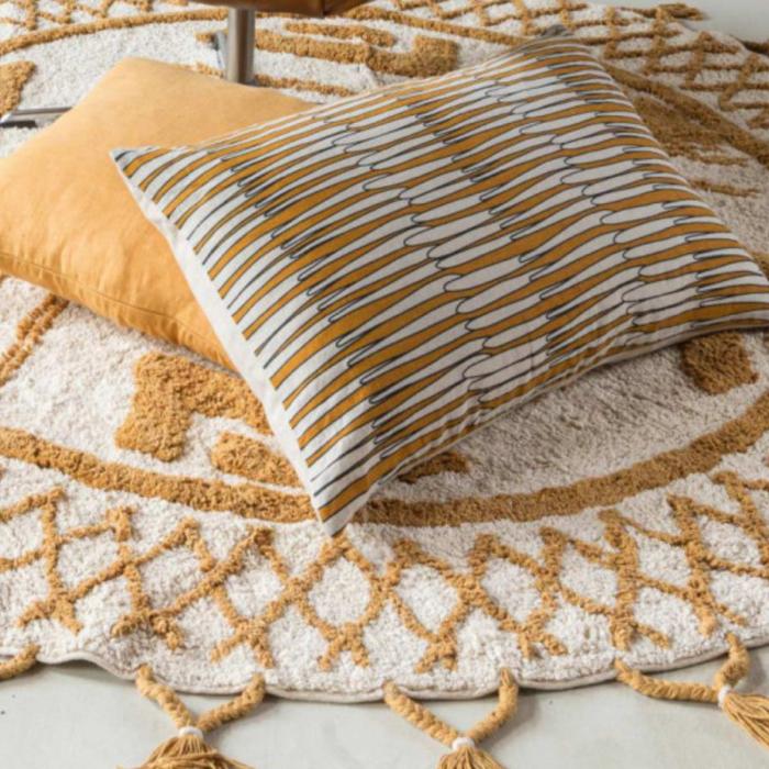 Zeff Mona - Cuscino rettangolare giallo ocra in lino con stampa fantasia
