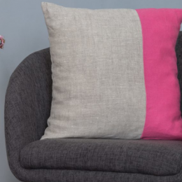 Cuscino lino rosa