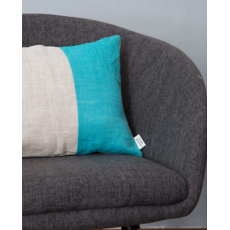 Cuscino lino - Cuscino rettangolare turchese