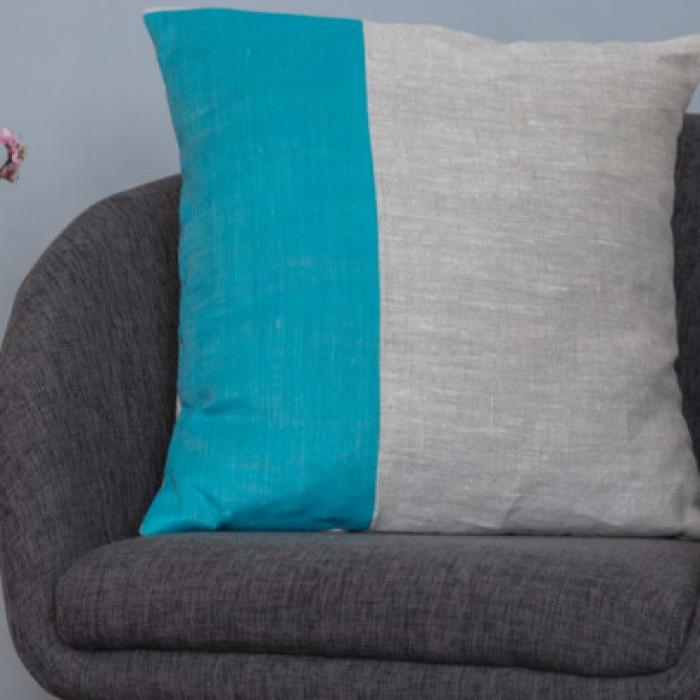 Cuscino lino turchese