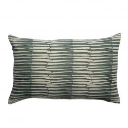 Zeff Mona - Cuscino rettangolare verde timo in lino con stampa fantasia