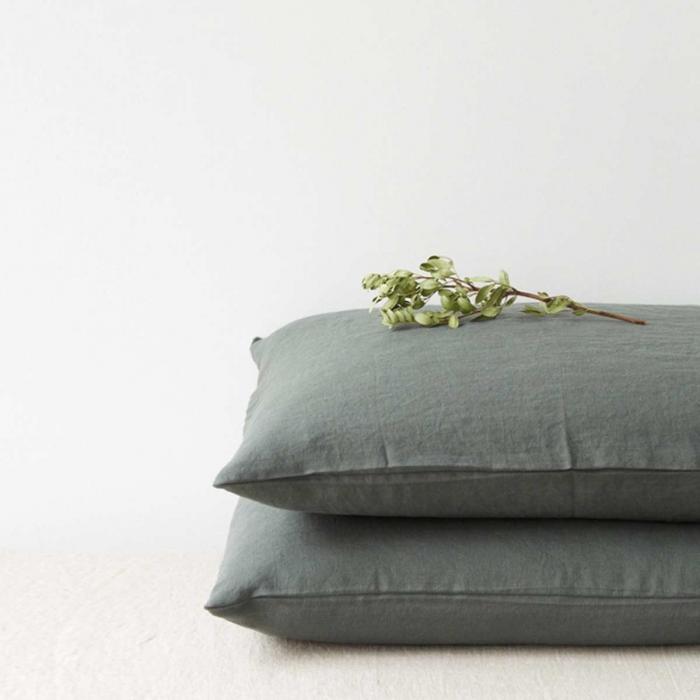 Forest Green - copripiumino in lino color verde scuro