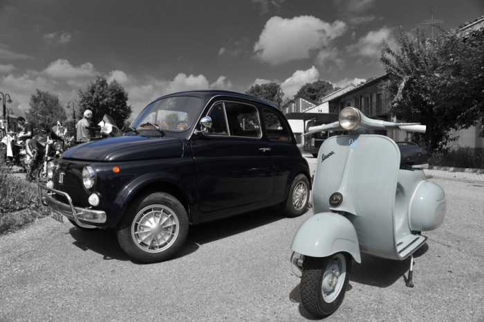 Fotomurale auto e motori fiat 500 e vespa livingdeco 39 for Deco murale fiat 500