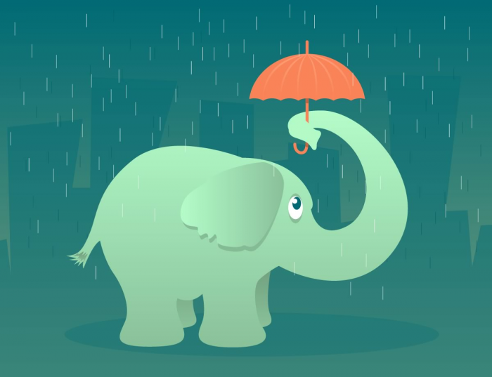 Elefantino con ombrello