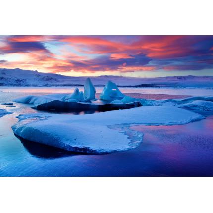 Tramonto sugli Iceberg Islandesi