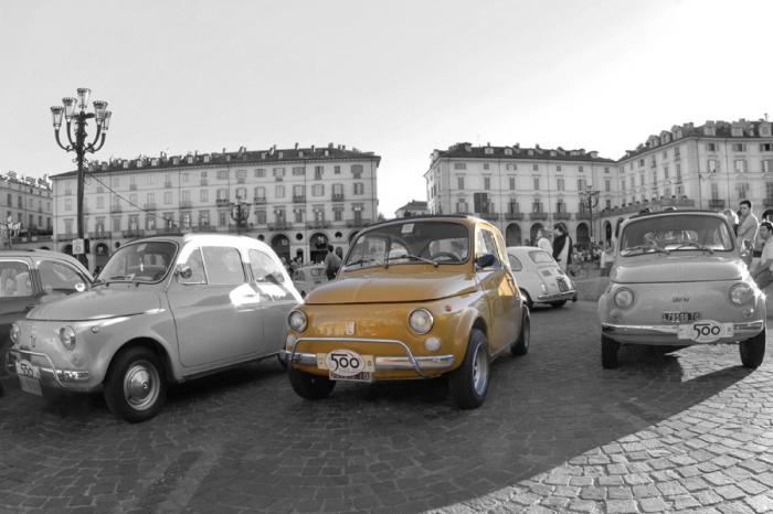 Immagine murale auto e motori fiat 500 gialla livingdeco 39 for Decoration murale fiat 500