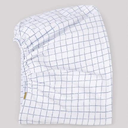 Lenzuolo con angoli a quadretti blu in percalle di cotone