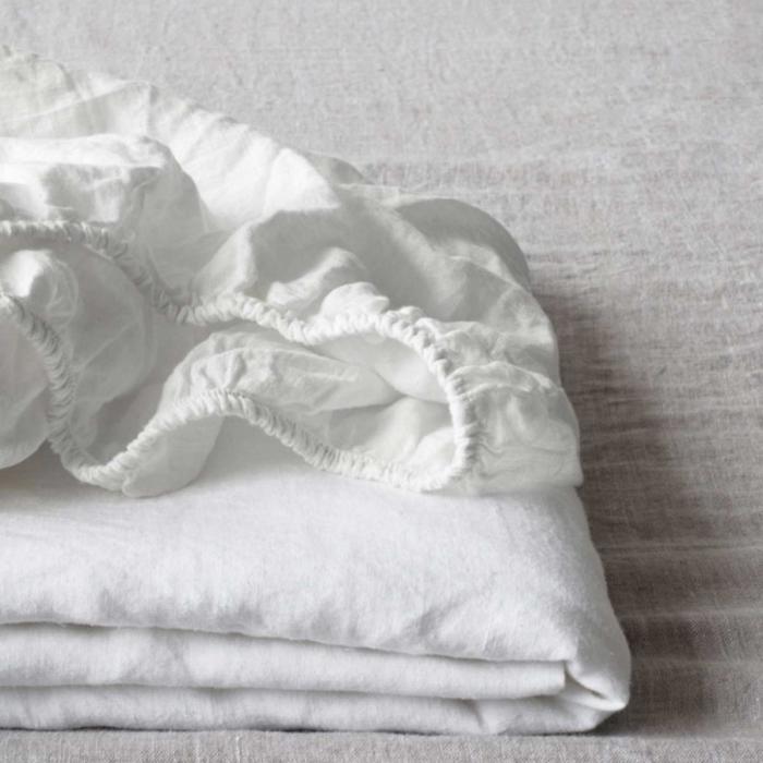 Pure white - lenzuolo in lino bianco con angoli