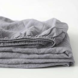 Ash - lenzuolo in lino grigio cenere con angoli