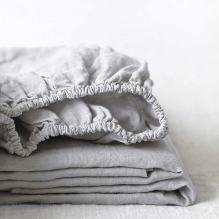 Silver - lenzuolo grigio in lino con angoli