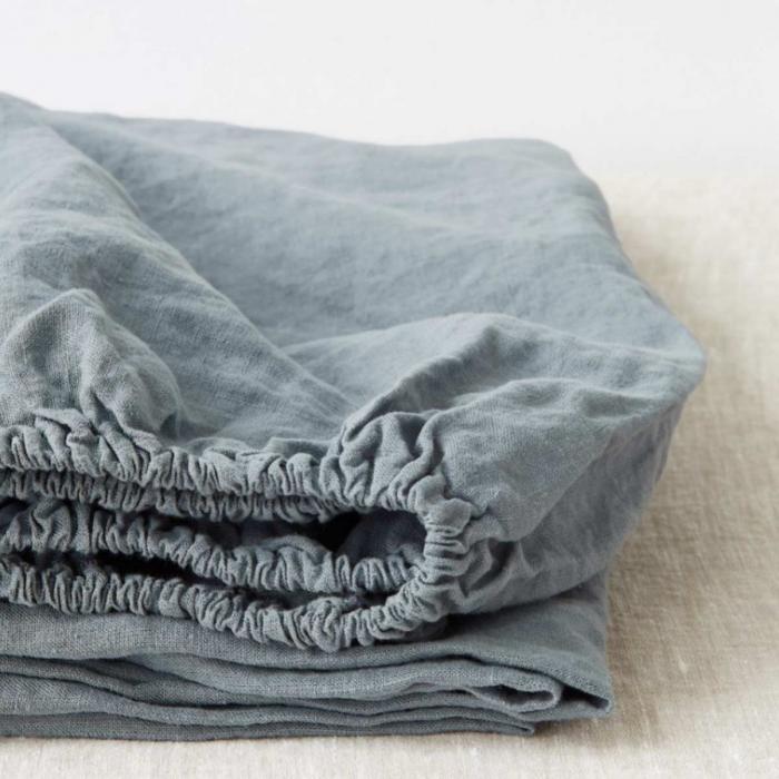 Blue fog - lenzuolo in lino azzurro polvere con angoli