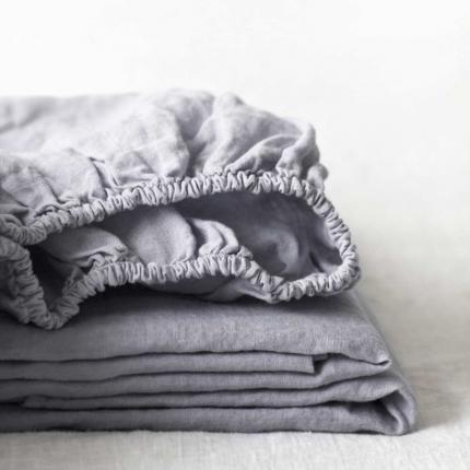 Light grey - lenzuolo in lino grigio chiaro con angoli