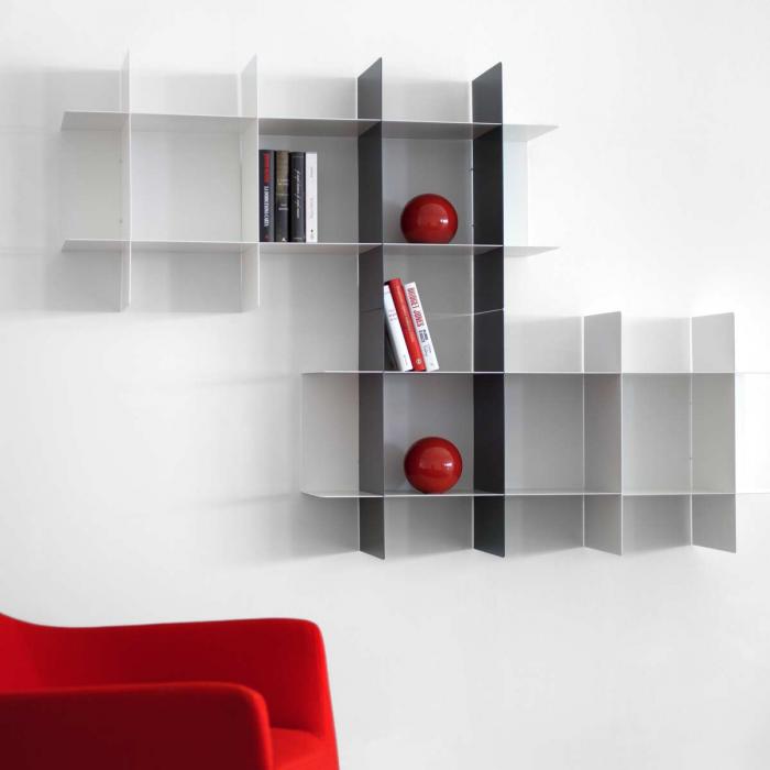 Libreria INNESTO bianca e grigio grafite