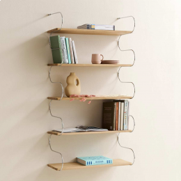 Onda - libreria in rovere e acciaio cromato